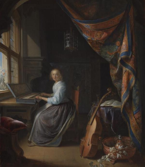 Una mujer tocando el clavicordio - Gerrit Dou, hacia 1665