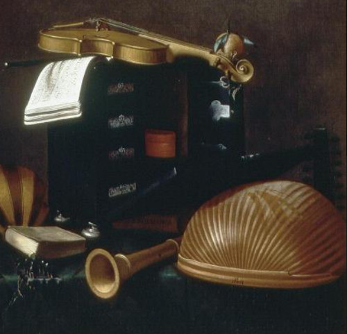 Naturaleza muerta con instrumentos musicales - Evaristo Baschenis , hacia 1660