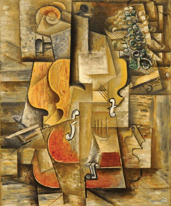 Violín y uvas - Pablo Picasso, 1912
